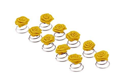 10 x Rosen Curlies - Brauthaarschmuck - Curlie - Haarschmuck | Gelb