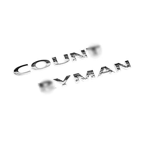 XHSM Auto Coda Posteriore Tronco 3D Lettere Adesivi in Metallo Refit Paster per Mini per Cooper S JCW One Countryman R60 F60 Accessori Auto Decorazione Auto (Color : Argento)