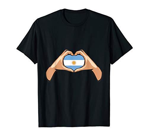 Argentinien Flagge Argentinische Fahne Hand Herz Zeichen T-Shirt