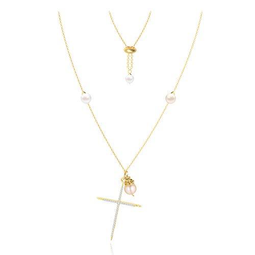 Colgante Collar Cruz Perla Cadena de Suéter Adjustable Oro 14K Dijes