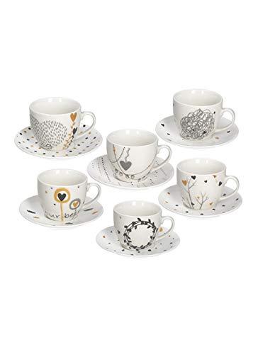 Tognana IR685375563 Confezione 6 Tazze da tè con Piatto, Porcellana