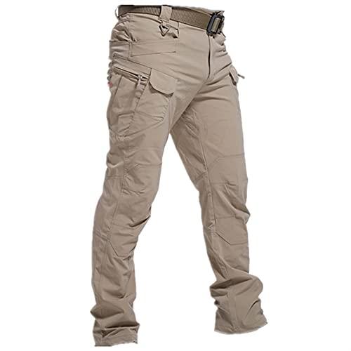 Pantalones tácticos Militares Hombres Pantalones de Combate Especial Multi-Bolsillo Impermeable Resistente al Desgaste Casual Training Overly Men Pantalones (Color : Khaki, Size : XL.)