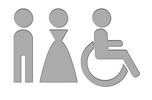 Simbolo Uomo Donna Disabili WC Bagno Toilette porta Omini segnale Targa Porta Targhetta Adesiva Segnaletica Argento Satinato