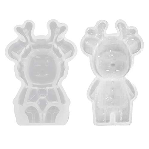 Glomixs Christmas DIY 3D Reindeer Silicone Jewelry Mold Resin Epoxy Mould Casting Craft Tool