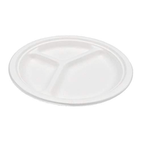 Pack & Cup Bio Menüteller Rund 3 Geteilt aus Zuckerrohr 100% kompostierbar und umweltfreundlich Eco Ø 26 cm 50 Stück