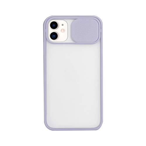 Funda compatible con iPhone 12 Pro Max [Protección de cámara] diseño slide Cap carcasa rígida traslúcida suave bordes antigolpes protección de lente para iPhone 12 Pro Max Case (morado)