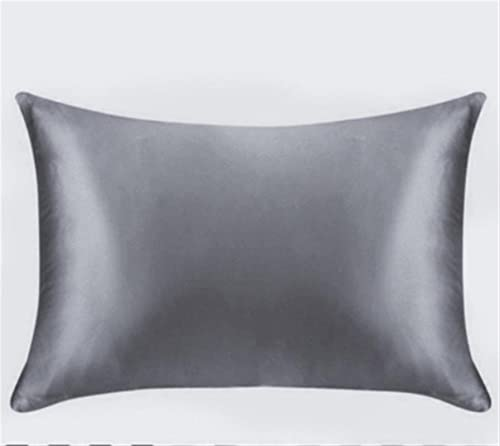 Funda de Almohada Pure Emulation Silver Satin Funda de Almohada única Funda de Almohada Multicolor (Color : Dark Gray, Size : USStandard20x26inch)