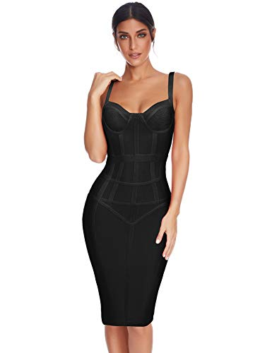Meilun Womens Corset Bodice Sleeveless Backless Straps Bandage Cocktail Party Dress (Black, XS)
