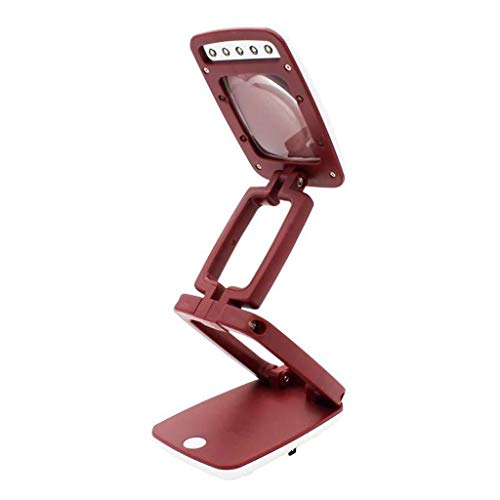 Holding Vergrootglas Een Draagbare handsfree Vergrootglas Vouwen Pocket Vergrootglas Multifunctionele regelgeving HD Zoom Lens 3 tijden met LED Lampen voor het testen van munten Sieraden Antiek
