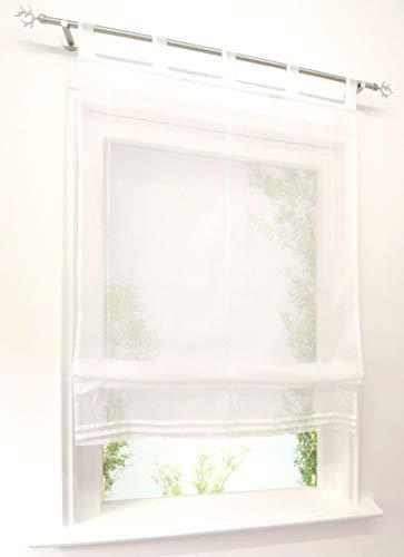 CURTAIN LAND Store Romain Transparent à Pattes Couleur Unie (LxH-45x140cm, Blanc)