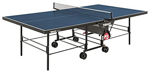 TIBHAR Tischtennisplatte Indoor 3000 inkl. Netz Designed by Sponeta | Tischtennistisch für drinnen | 19 mm | Allein-Training | Turnier-Maße | rollbar | klappbar | 71 kg | blau