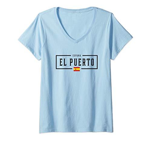 Mujer Municipio de El Puerto de Santa María Ciudad Camiseta Cuello V