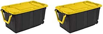 2-Pack Sterilite 40 Gal.Wheeled Industrial Tote Yellow Lily Case