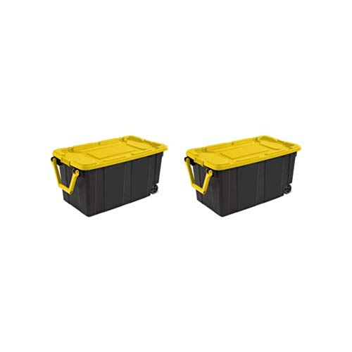 Sterlite 40 Gallon Wheeled Industrial Tote, Yellow - Plastic Garage Storage Container - Bin Organizer Lid - (Pack of 2)