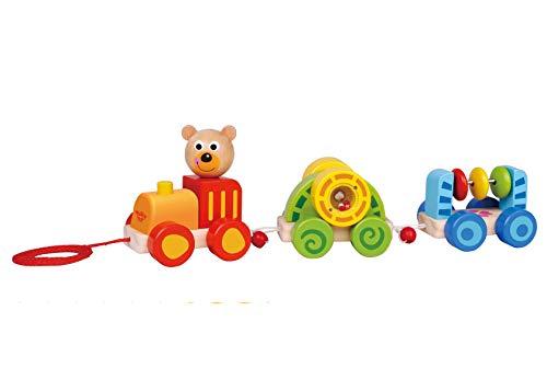 Tooky Toy Jeux en bois - Train ourson à tirer en bois, Multicolore