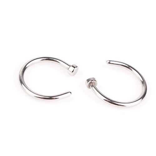 EROSPA® Nasen-Piercing-Ringe 2 Stück Schmuck Nasenring Nasenstecker Fake Hoop Lippe Ohr silber 8 mm 1 Paar