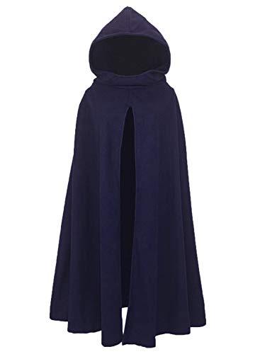 FUTURINO Damen Winter/Herbst Gotisch Lose Umhang mit Kapuze Mantel Poncho Kap Outwear Longstrickjacke (Medium, Navy)
