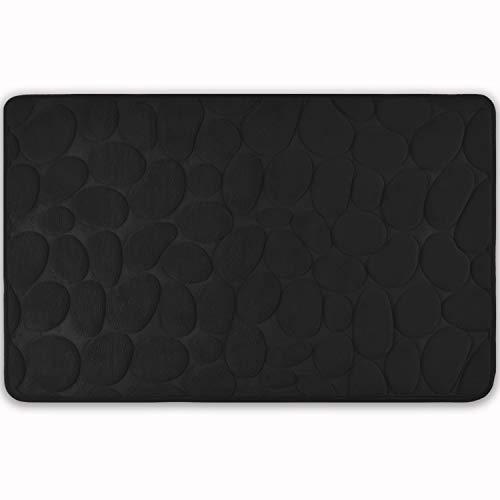 WohnDirect Badezimmerteppich mit Memory Foam - Rutschfester Badteppich - Badematte waschbar & schnelltrocknend auch ideal als Duschvorleger - Badvorleger 50 x 80 cm - Schwarz