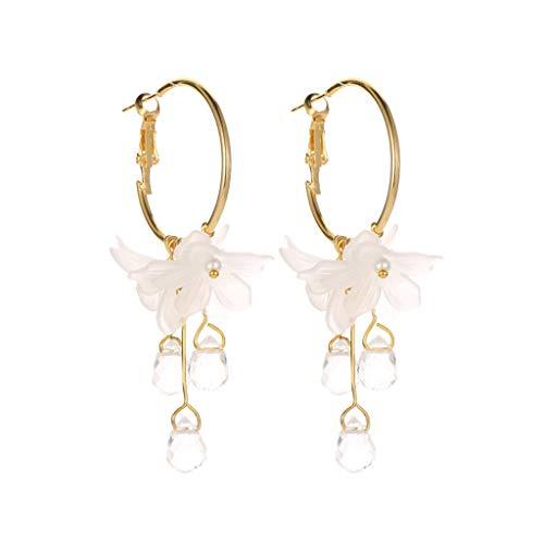 Mypace 925 Silber Gold Set Creolen hängende Ohrringe Für Damen Süße Temperament weiße Blume Kristall Anhänger Metall Ohrringe Damen Schmuck