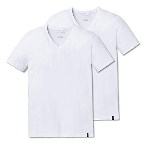 Schiesser 2er Pack 95/5 T-Shirt Kurzarm V-Ausschnitt - Herren Unterhemd - Baumwolle - Weiß Grau Schwarz - 205429, 2 X Weiß, 7