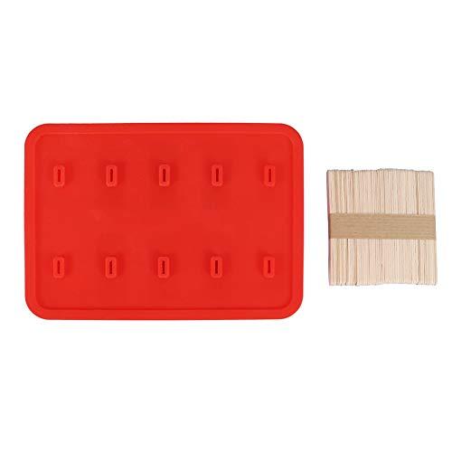 ce Sahneform, 10 Zellen Kieselgel Frozen Zen Eisform Eis am Stiel Maker mit 50 Sticks(rot)