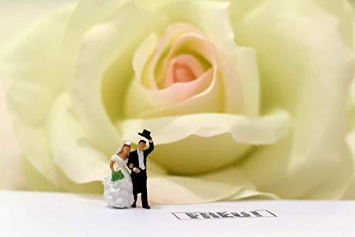 Coole schöne Postkarte meiner Foto-Kunst - Hochzeit-Paar in Liebe Freude vor Rose, schöne Braut und Bräutigam zum Verschicken und Verschenken von Fotografin aus Berlin