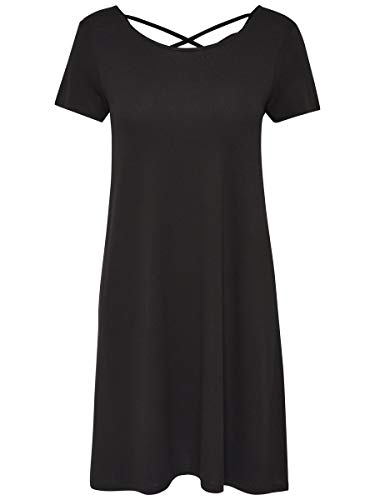Only Onlbera Back Lace Up S/s Dress Jrs Noos Vestido, Negro (Black Black), 40 (Talla del Fabricante: Medium) para Mujer