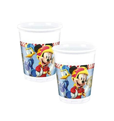 Lote de 24 Vasos Decorativos Infantiles'Mickey Racers'. Vajillas y Cuberterías. Juguetes y Regalos de Cumpleaños, Bodas, Bautizos y Comuniones.