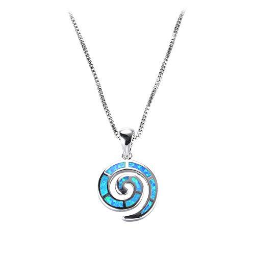 Yazilind Spirale Form Opal Anhänger Halskette Exquisite Schlüsselbein Kleid Halsketten Platin Überzogene Kette Beste Braut Hochzeit Schmuck (Navy blau)