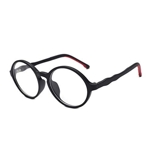 GHKWXUE Unisex Gläser, Anti-blaues Licht Lesebrille, TR90 Gläser, Strahlenschutzbrillen, Multifunktions-Flachspiegel, Retro Runden Rahmen Gläser, Lesen, Lesen, Gehen Gläsern (Color : Black)