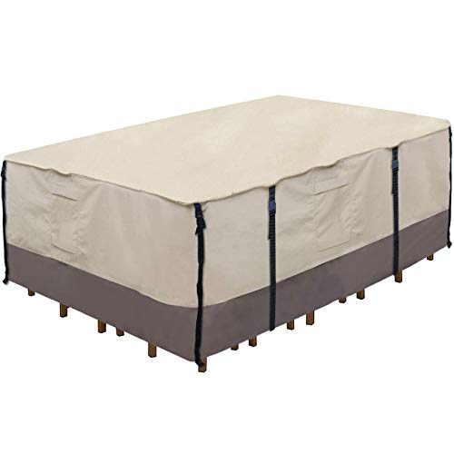 Ogrmar Heavy Duty 600D Patio Table Cover Waterproof Rectangle Patio Furniture Cover Outdoor Dining Table Chair Set Cover (72'x44'x27.5')