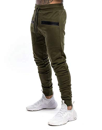 Yidarton Herren Jogginghose Sporthose Baumwolle Sweat Pants Trainingshose Jungen Slim Fit Freizeithose Joggers Streetwear (grün, l)