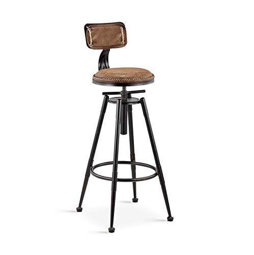 Stuhl Barhocker Industrial Style Dining Chair, PU Leder Gepolsterter Barstuhl mit Rückenlehnen Höhenverstellbarer Barhocker Retro Drehstuhl für Küche, Restaurant, Theke, Einkaufszentrum, Bar, Café mit
