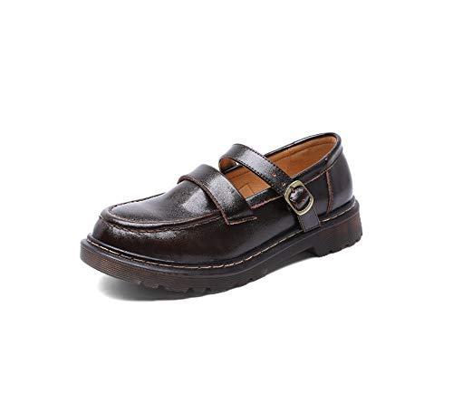 YSSWJ Ysswjzz Zapatos de Mujer, Calzado de Cuero Informal, Antideslizante (Color : Brown, Size : 39)