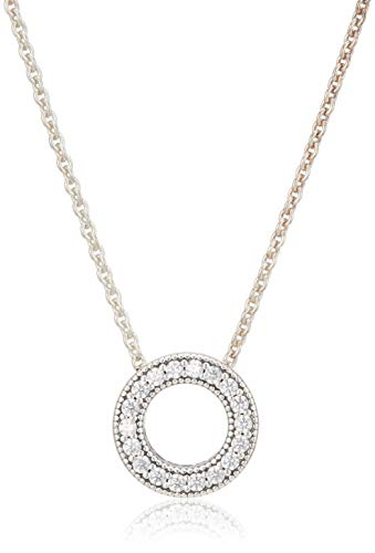 Pandora Jewelry - Hearts Of Pandora Necklace in Sterling Silver with Clear Cubic Zirconia, 17.7 IN / 45 CM