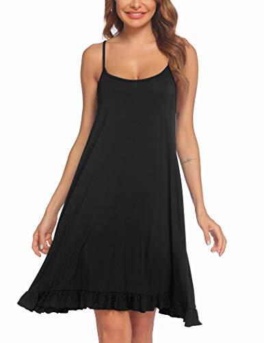 Ekouaer Nachthemd für Damen, ärmellos, sexy, lockeres Nachthemd, Spaghettiträger, kurzes Nachthemd, Pyjama-Kleid, S-XXL, schwarz, X-Groß
