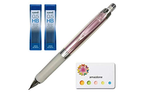 Uni Alpha Gel Kuru Toga Mechanical Pencil, Soft Grip 0.5mm, Noble Pink Body + Diamond Infused Lead 2 Set (U05202NDHB) and Our Original Sticky Notes