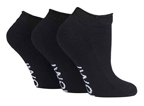 IOMI - 3er Pack Baumwolle Ohne Gummi Kurz Sneaker Diabetiker Socken (46/50, Black (Trainer))