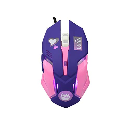 Lovely Wired USB Computer Mouse,7 Colors Backlit,Silent Buttons,3200 DPI,for MacBook,Computer PC,Laptop (Luna CAT) (Purple)