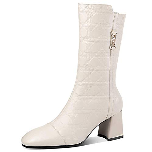 Womens Ankle Boots Sexy Block Heel Pointed Toe Cowhide Material Warm Casual Non-Slip Work Walking Winter Boots,White,40