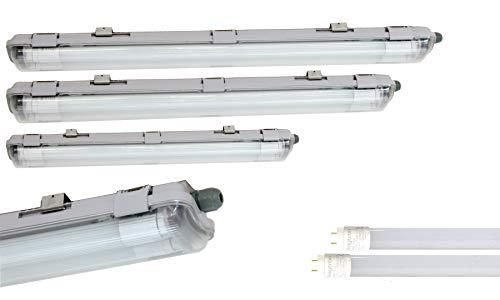 LED 120cm Feuchtraumleuchte 2x 18W LED Röhre Kaltweiß IP65 Wannenleuchte, 1750 Lumen, Plastik, Grau, 127,6 x 9.6 x 5.8 cm, für Garage, Keller, Werkstatt, Außenanwendungen