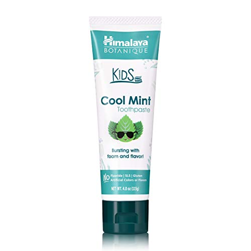 Himalaya Botanique Kids Toothpaste, Cool Mint Flavor to Reduce Plaque and Keep Kids Brushing Longer, 4 oz