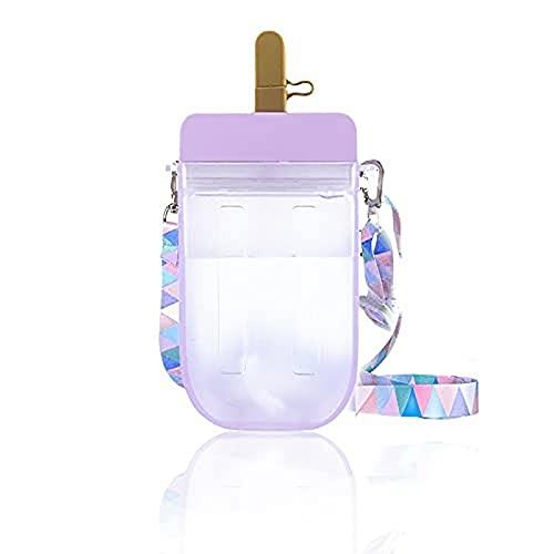 Zovco, borraccia creativa in plastica per gelato con cannucce e cinghia, tracolla regolabile per adulti, bambini, campeggio, sport, viaggi, viola