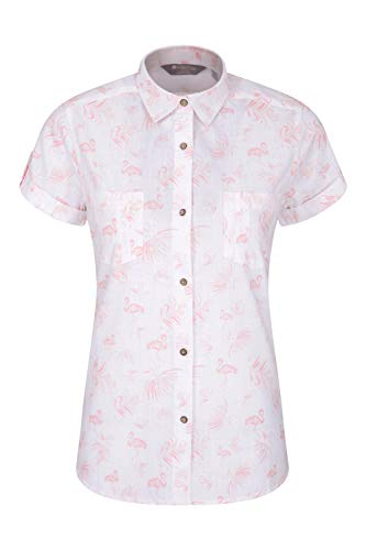 Mountain Warehouse Coconut Damenhemd - Damenoberteil aus 100% Baumwolle Für den Sommer, kurzärmlige Bluse, atmungsaktiv, leicht, pflegeleicht Weiß 46 DE (48 EU)