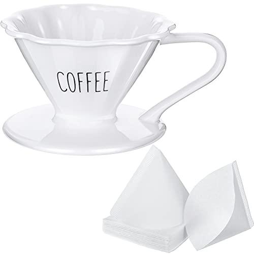 Gotero de Café con Leche de Cerámica con 40 Papeles de Filtro de Café Desechable Gotero de Cerámica para Cafetera Papel de Filtro en Forma de Cono para Hogar Cafeterías Restaurantes Café