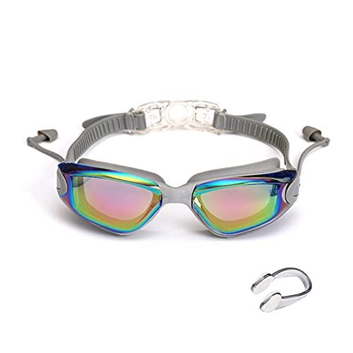 WANGYA Gafas de natación Gafas de natación Profesional Gafas de natación con Tapones para los oídos del Clip de la Nariz electroplato de Silicona Impermeable Gafas de natación Profesional