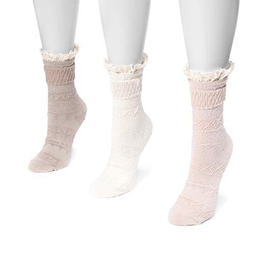 Muk Luks Women's Lace Boot Socks, Multi, One Size