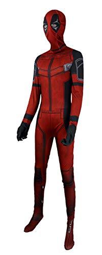 NVHAIM Kids Deadpool Stretch Bodysuit, COS Wade Medias Sumpsuits Fancy Dress Up Combate Traje de Combate, Películas de rol Fiestas de Fiestas Suministros de Fiesta Impresión 3D,Adult S