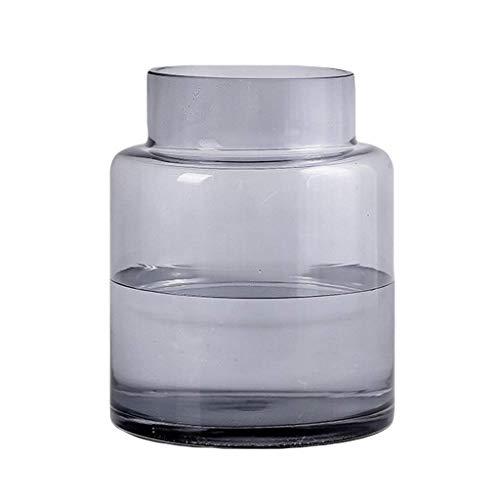 ZXL cilinder van glas met bloemen, Nordic fles, eenvoudige kruik voor droge bloemen, hydrocultuur, ornamenten voor de vensterbank, woonaccessoires, breed design, grijs/tras