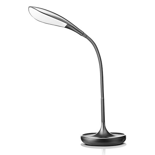 LED Desk Lamps with USB Charging Port Flexible Eye-Care Dimmable Desk Light with Swing Arm Touch Control Modern Reading Lamp for Bedroom/Living Room/Bedside/Office/Study -Grey, Gift Idea